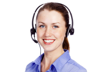 Friendly service operator smiling to you