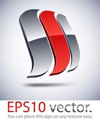 3D modern logo sail icon.