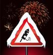 Schild Silvesterrakete - Feuerwerk