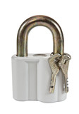 Padlock with keys on white background