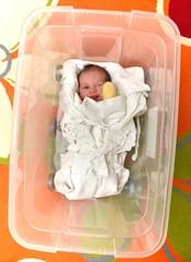 bébé  dans une boîte plastique