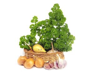 garlic, onion and parsley