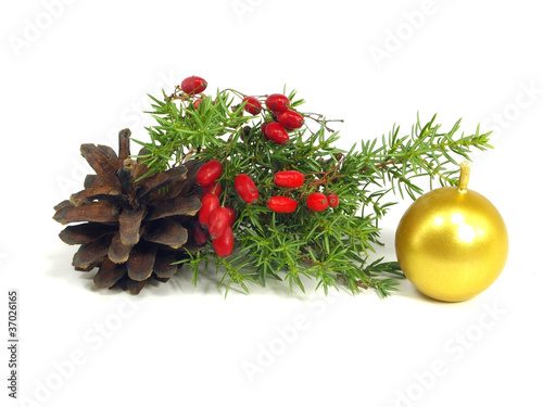 christmas still life on a white background