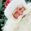 Portrait of Santa Claus standing with hand on chin outdoors at c