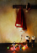 Digital painting of Santa costume hanging on coat hooks