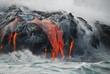 Leinwanddruck Bild - Multiple Lava Flows, Ocean, Steam, close up