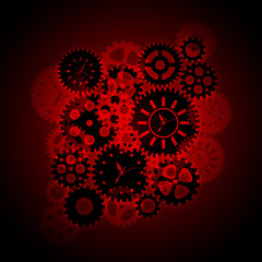 Time Clock Gears Clipart on Red Background