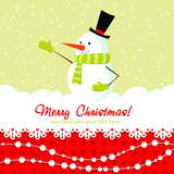 Ornate Christmas card with doodle snowman and decorative lace