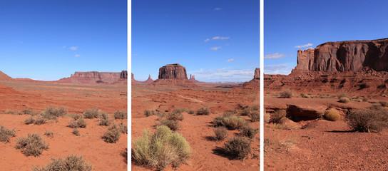 triptyque sur les roches de monument valley