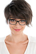 Happy young woman with glasses