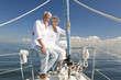 Happy Senior Couple on a Sail Boat