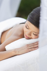 A Young Woman Relaxing At Health Spa