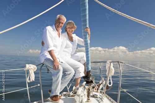 Happy Senior Couple on a Sail Boat - 37032731