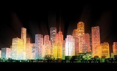 Golden Finance District at Night
