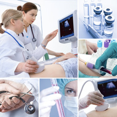 Various medical related images in a collage