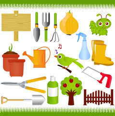 Vector Icons : Gardening, and garden tools / equipments