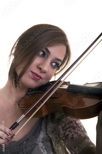 Beautiful Young Girl Play Violin