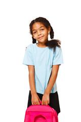 Girl holding school backpack