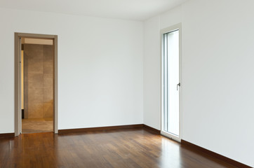 new apartment, empty room with doors