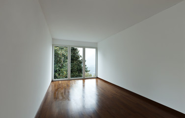 new apartment, empty room with wall-window