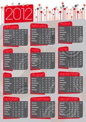 calendario 2012 stile anni '70 in inglese rosso e grigio
