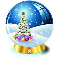 Sfera Cristallo Albero Natale-Crystal Globe Christmas Tree