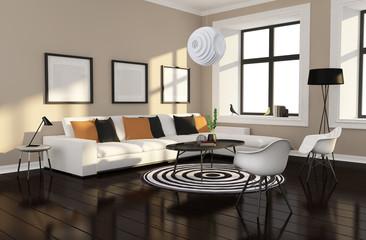 Minimal design wood interior with black white carpet rendering