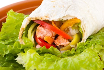 burrito with salmon, peppers and tomato