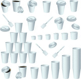 Paper cup icon set isolated on whit.