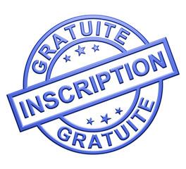 """""""Inscritpion Gratuite"""" Cachet (bleu)"""