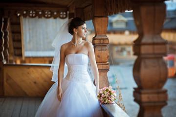 Portrait of a bride with a bouquet