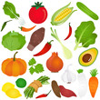 Colorful Cute vector Icons :  Fruits, vegetable, food