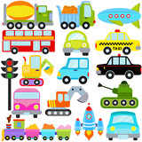 Fototapety A set of cute Vector Icons : Car / Vehicles / Transportation