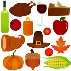Thanksgiving / Fall season Vector Icons, Isolated on white