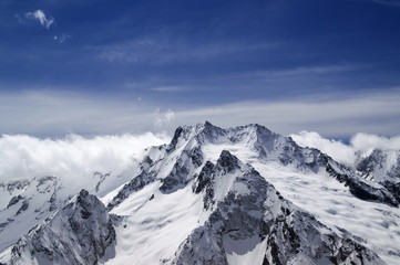 High mountains in cloud