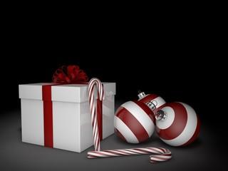 3d Rendering Geschenk mit Christbaumkugeln und Zuckerstangen