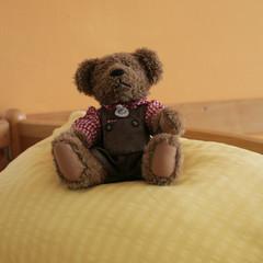 Bett im Pflegeheim mit Stoffbär