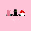 "Sitting Pig, Chimney Sweeper & Fly Agaric ""Happy Birthday"" Pink"