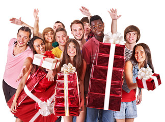 Group people holding stack gift box.