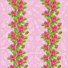seamless roses soft pink