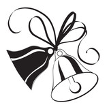 Bell sketch for  Christmas or wedding with bow - 37048934