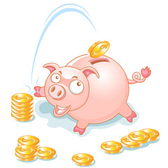 Piggy Bank and falling Money