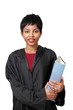 Cute lawyer girl in robe with thick file