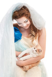 beautiful elven girl with kitten poster