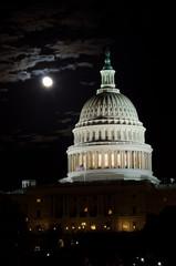 Capitol building in moonlight, Washington DC USA