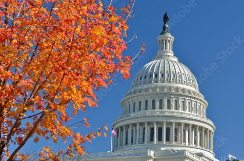 Washington DC, Capitol building dome in autumn