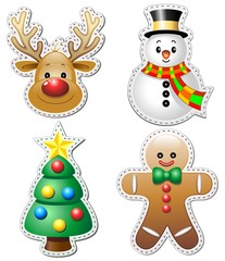 Natale Stickers Adesivi Christmas Ornaments-Vector