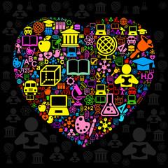 Background school heart colour