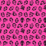 Cupids set, black on pink background, wrapping paper