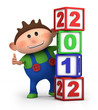 boy thumbs up with 2012 number blocks